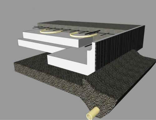 Plovoucí základová deska izolovaná zespodu polystyrenem XPS - systém Thermoblock