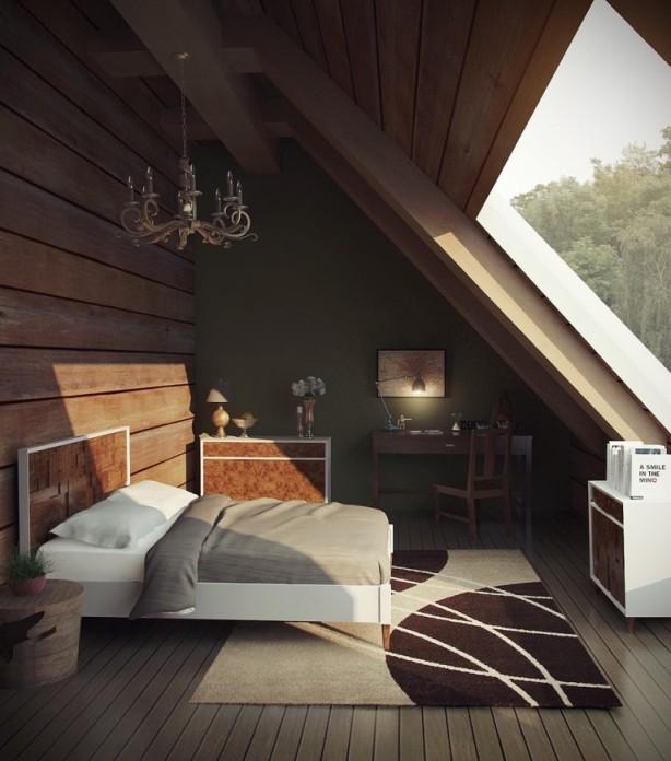 Moderní půdní vestavba se zařízenou ložnicí