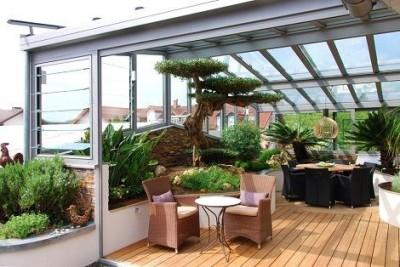 zimni zahrada s rostlinami