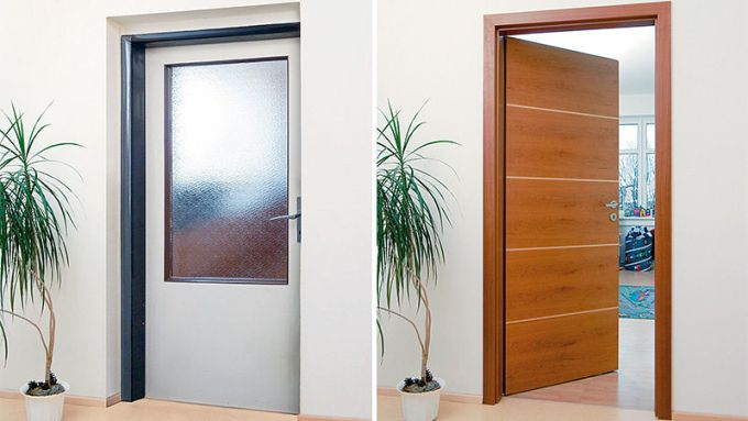 Interiérové dveře - před a po obložením novou zárubní