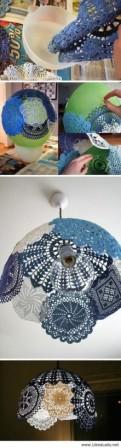 Lustr vyrobený z krajek, princip je obdobný jako u světla z provázků