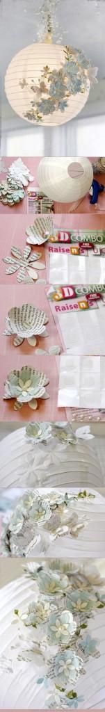 Lustr s papírovými květy