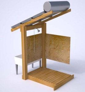 Model solární sprchy, kterou si můžete zhotovit svépomocí