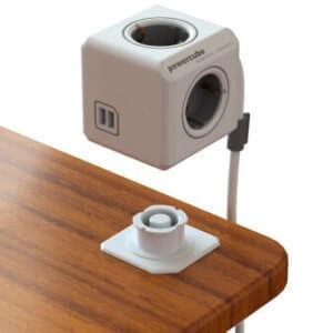 Powercube prodlužovačka s držákem na pracovní plochu stolu, USB nabíječka v zásuvce