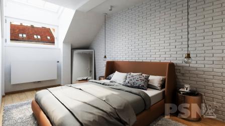 Ložnice v podkrovním bytě
