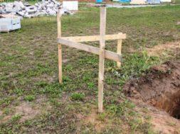 Vytyčení stavby stavební rohovou lavičkou