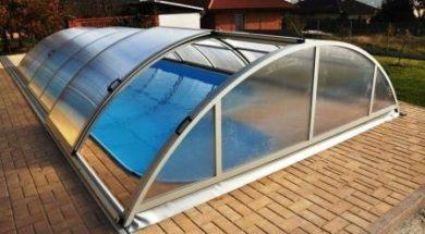 Posuvné zastřešení bazénu obloukové
