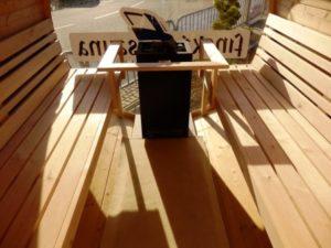 Dřevěná venkovní sauna s elektrickým vytápěním