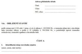 Formulář pro vyřízení ohlášení stavby