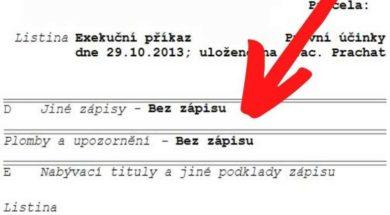Plomba je v listu vlastnictví zaznačena v části D – jiné zápisy