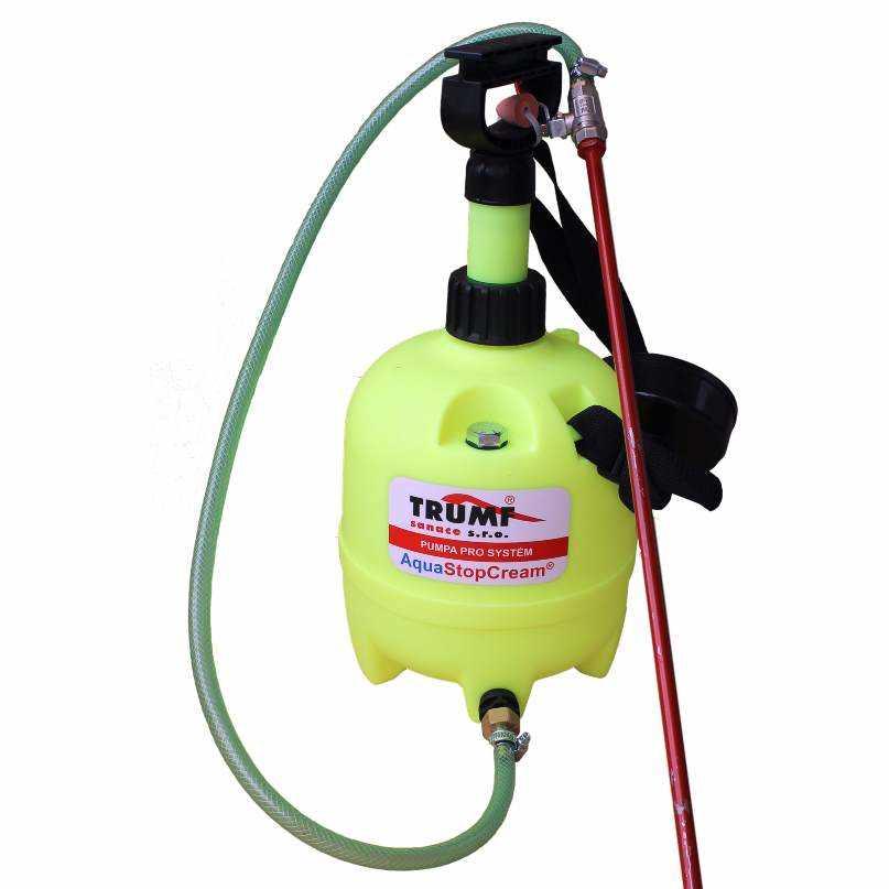 Injektážní pumpa o objemu 5 litrů pro aplikaci injektážního krému AquaStop Cream ®. Délku trubičkového plnidla volte s ohledem na tloušťku sanovaného zdiva.