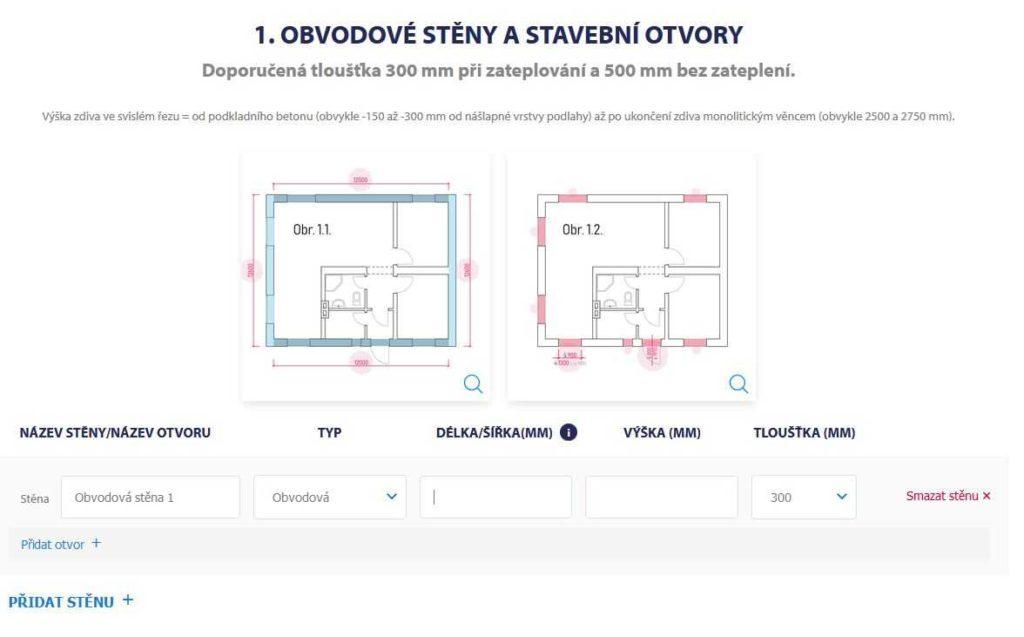 On-line výpočet stavebního materiálu PORFIX